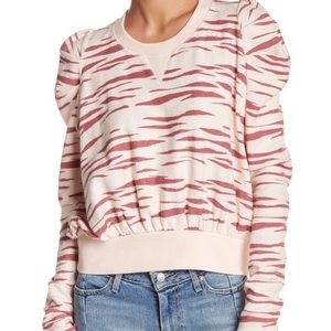 Free People Pink Animal Zebra Print Sweatshirt